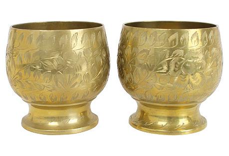 Engraved Brass Vases, Pr