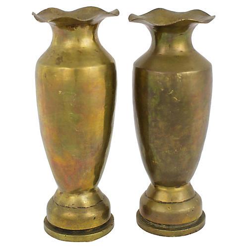 Trench Art Vases, Pair
