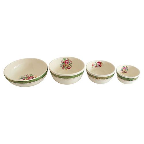 Floral Mixing Bowls, 4 Pcs