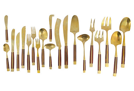 Midcentury Bronze Flatware Set, 83-Pcs