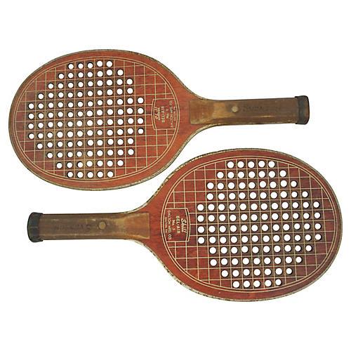 Wooden Paddleball Racquets, Pr
