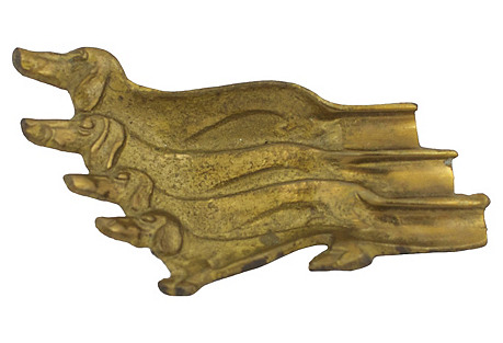 Brass Dachshund Ashtray