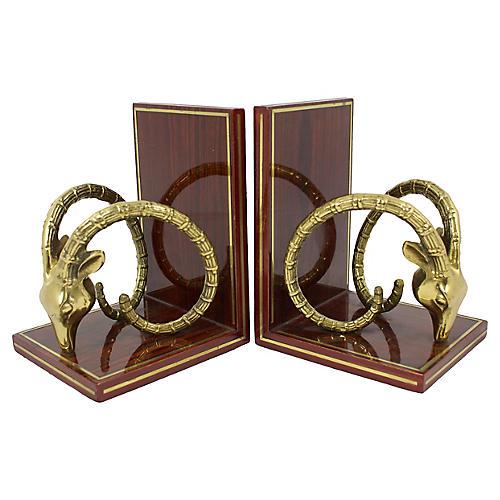 Brass Ibex Bookends