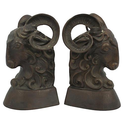 Brass Ram Bookends, Pair
