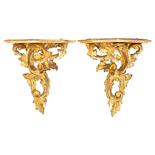 Italian Wall Shelves, Pair