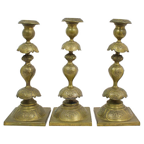 Antique Henneberg Candlesticks, S/3