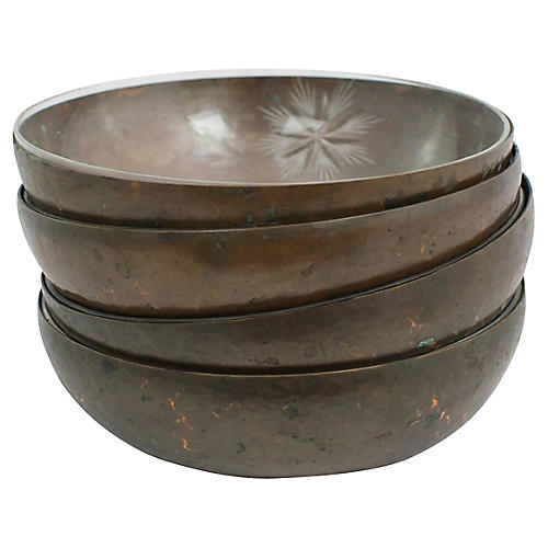 Glass Lined Copper Bowls, S/4