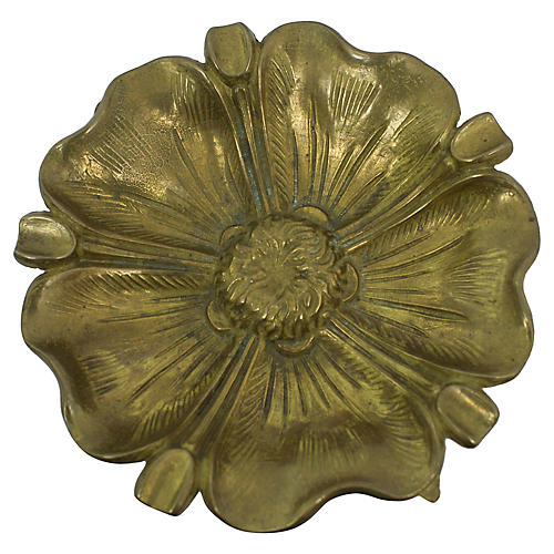 Antique Brass Flower Ashtray