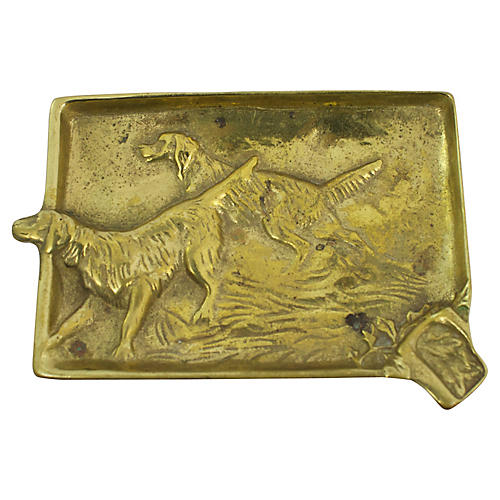Antique Hunting Dog Ashtray