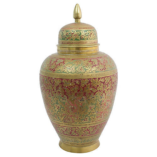 Engraved Brass Ginger Jar