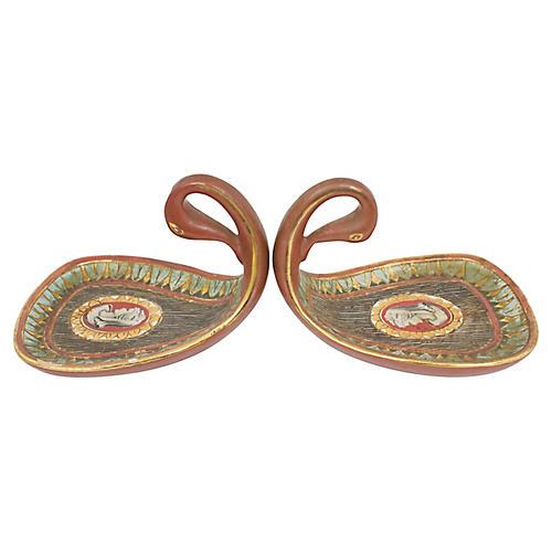 Deruta Pottery Finger Dishes, Pair