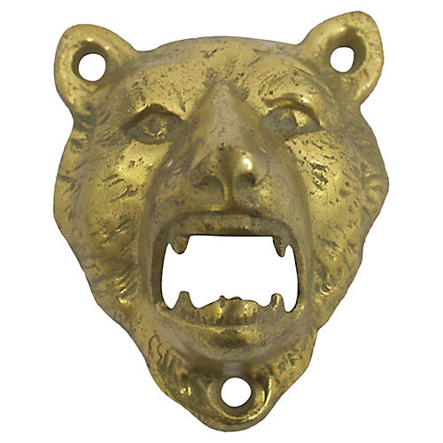 Brass Bear Wall-Mounted Opener