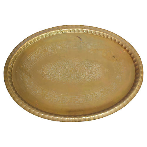 """30"""" Moroccan Brass Tray"""
