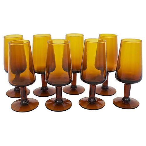 Mid-Century Blown Glass Shots, S/8