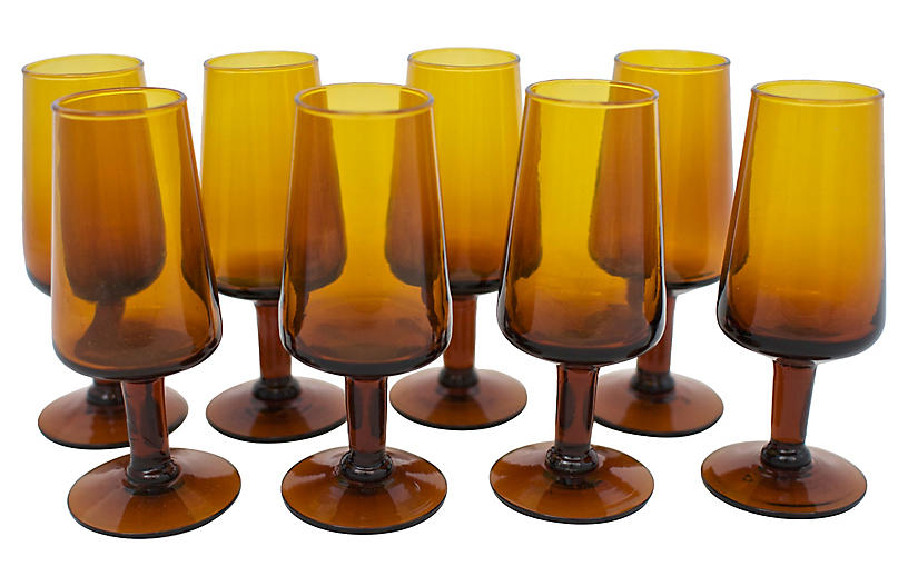 Mid-Century Blown Glass Shots, S/8