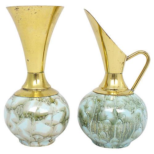 Delft Porcelain Vases, Pair