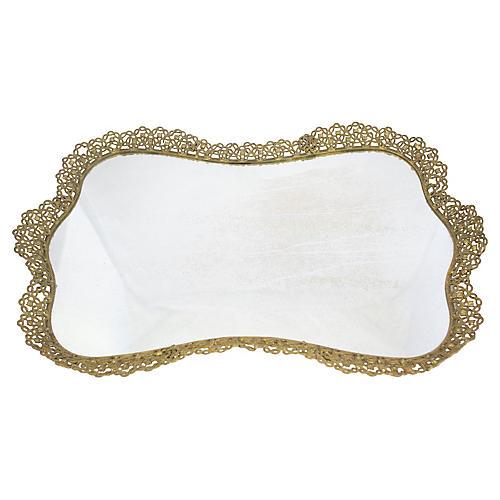 Large Ormolu Mirrored Vanity Tray