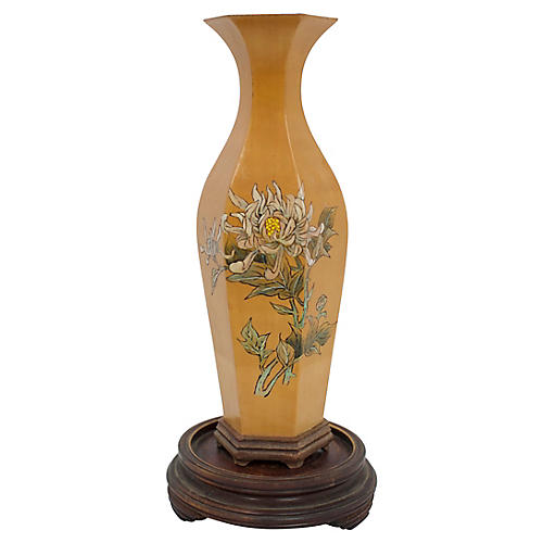 Hand-Painted Wood Vase