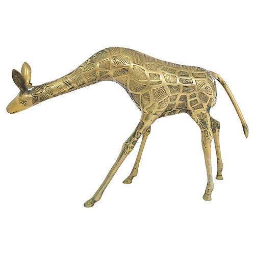 Large Mid-Century Brass Giraffe