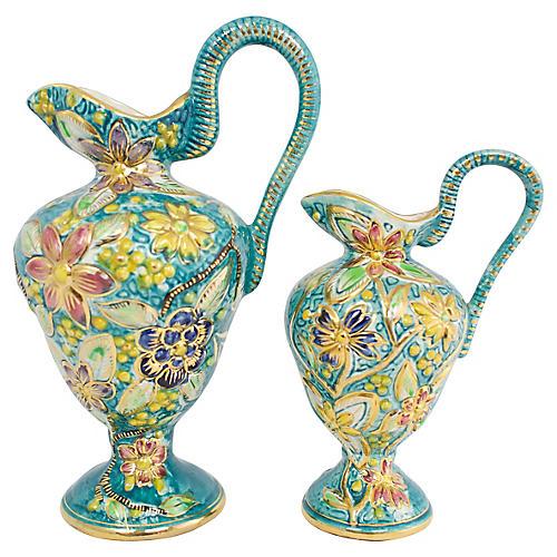 Belgian Floral Vases, Pair