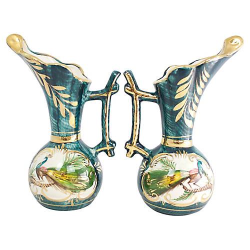 Hand-Painted Belgian Vases, Pr