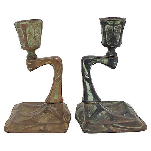 Arts & Crafts Bronze Candlesticks, Pr