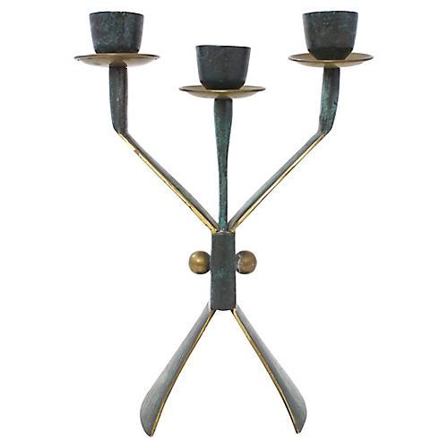 Mid-Century Modern Brass Candelabrum