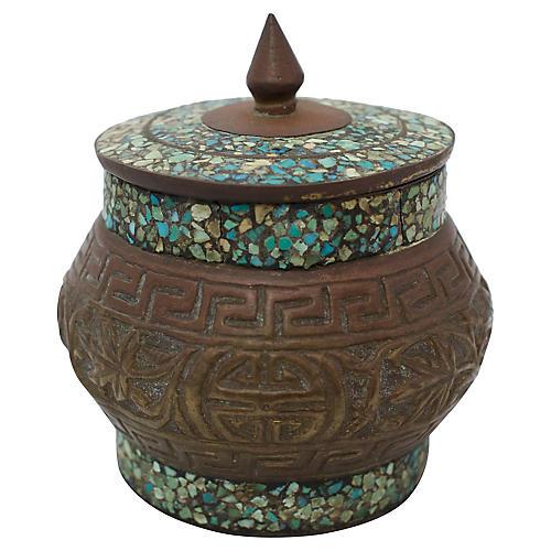 Inlaid Stone Bronze Jar