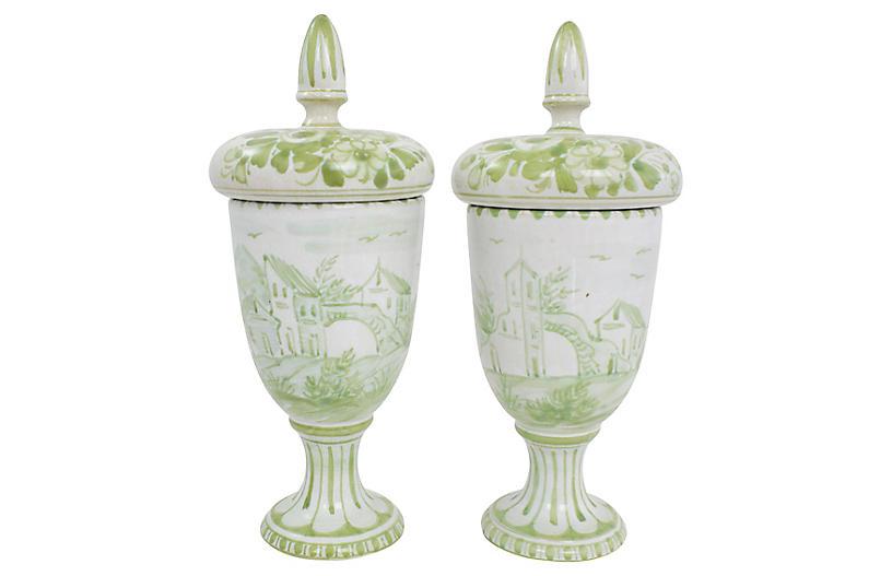 Italian Pottery Jars, Pair