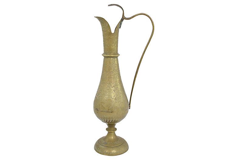 Engraved Brass Ewer