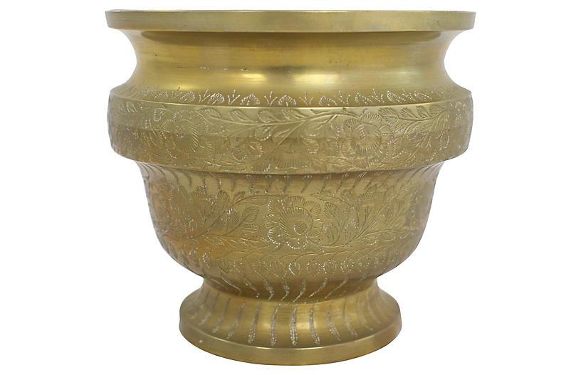 Engraved Brass Cachepot