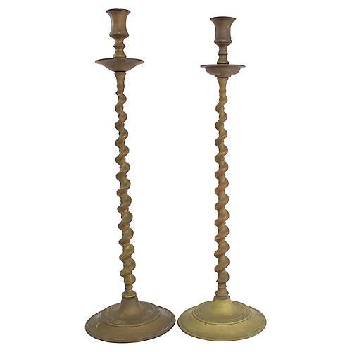 Tall Bronze Candlesticks, Pr