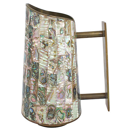Inlaid Abalone Brass Pitcher