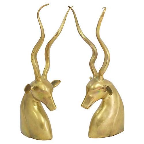 S/2 Brass Gazelle Figures