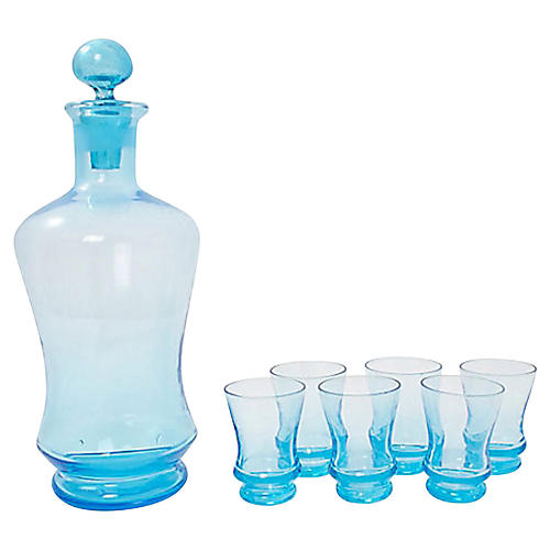 Italian Glass Decanter & Shots, 7 Pcs.