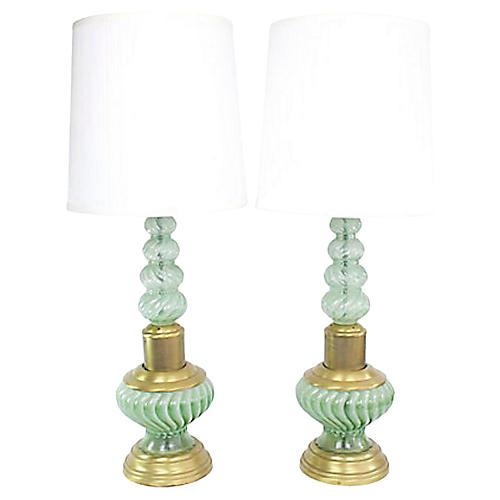 Regency Glass Table Lamps, Pair