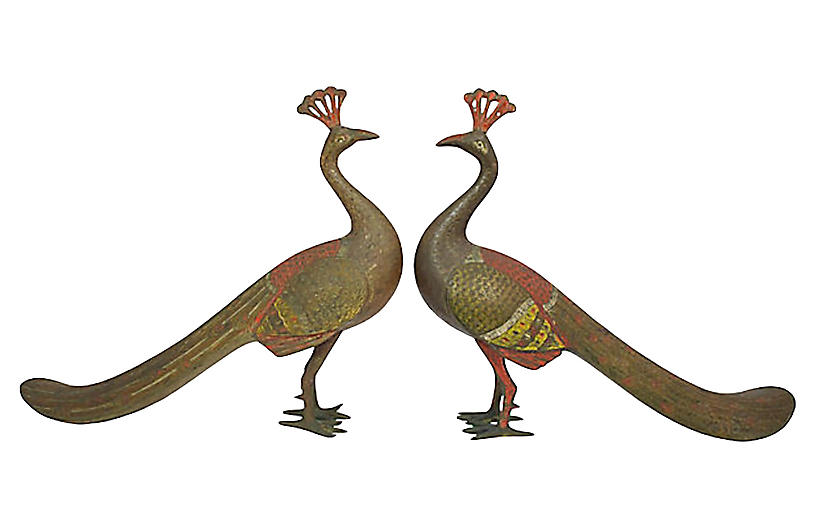 Engraved Brass Peacocks, Pair