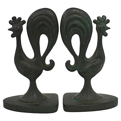 Mid-Century Modern Rooster Bookends