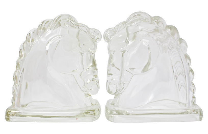Glass Horse Bust Bookends
