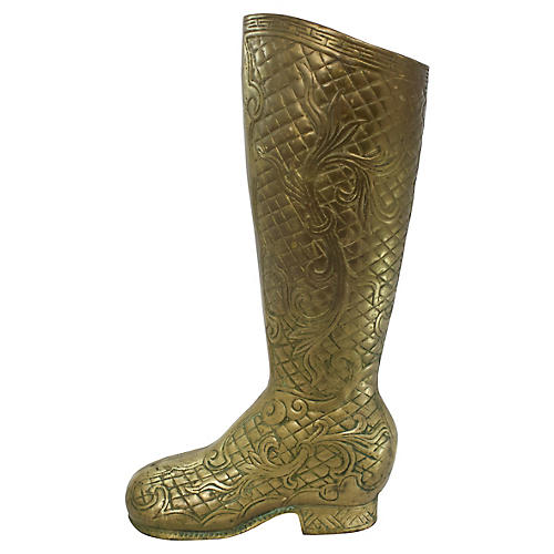 Brass Boot Umbrella Stand