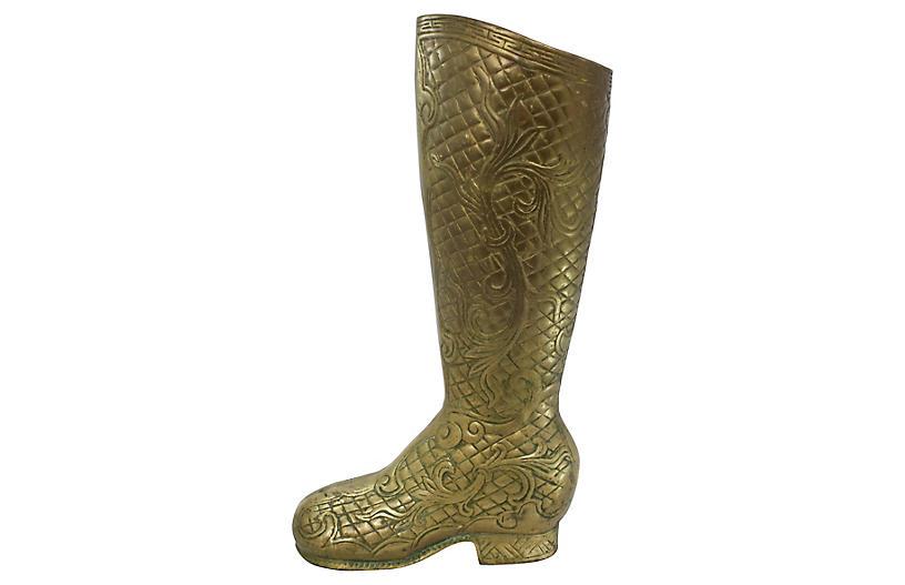 Brass Boot Umbrella Stand