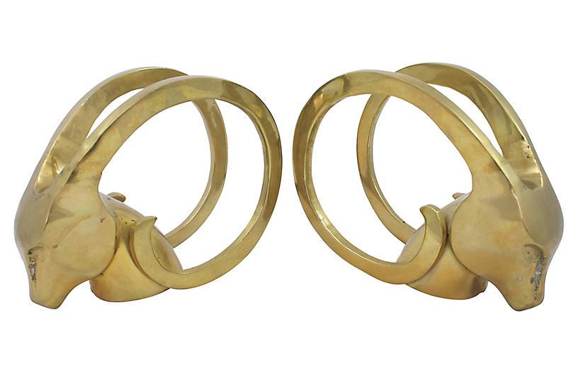 Modern Brass Gazelle Bookends