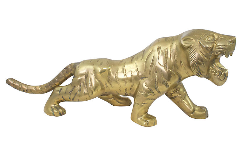 Large Midcentury Brass Tiger