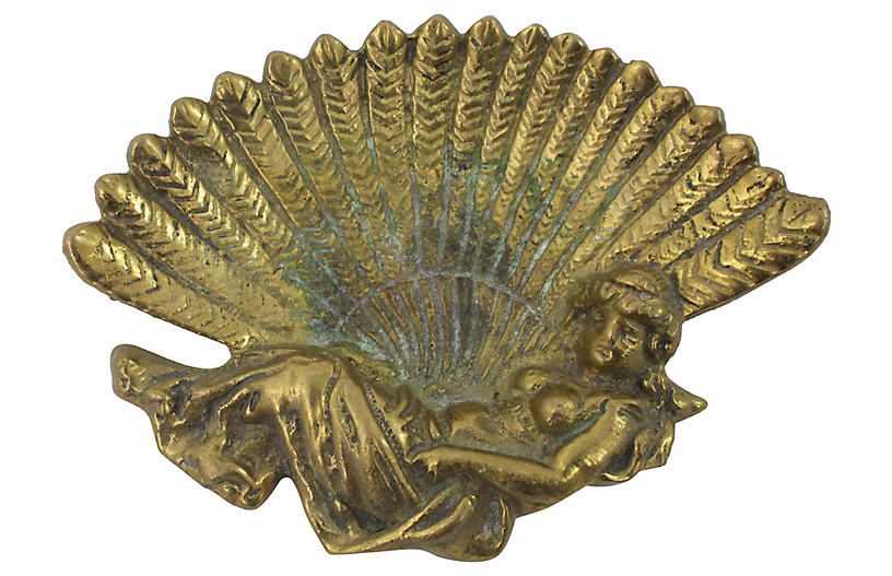 Art Nouveau Brass Trinket Dish