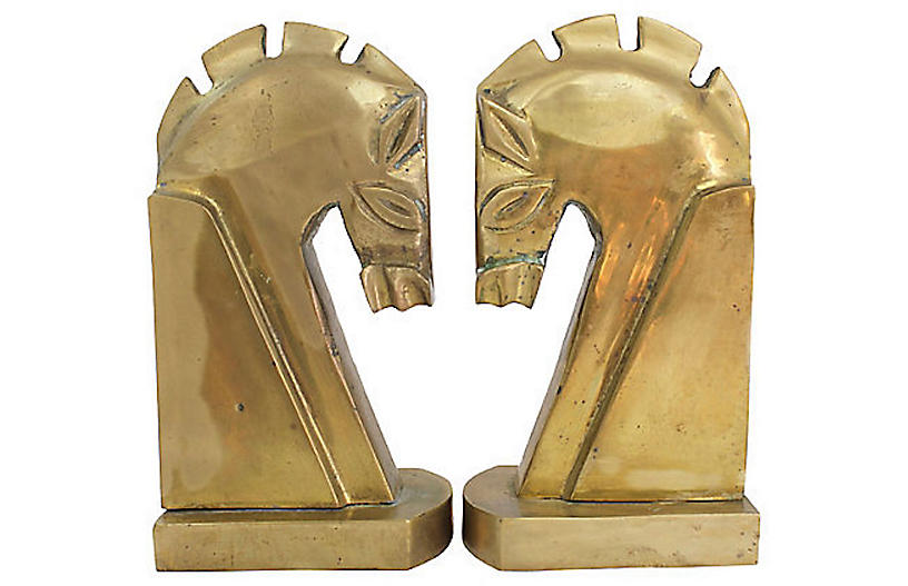 Midcentury Brass Horse Bookends