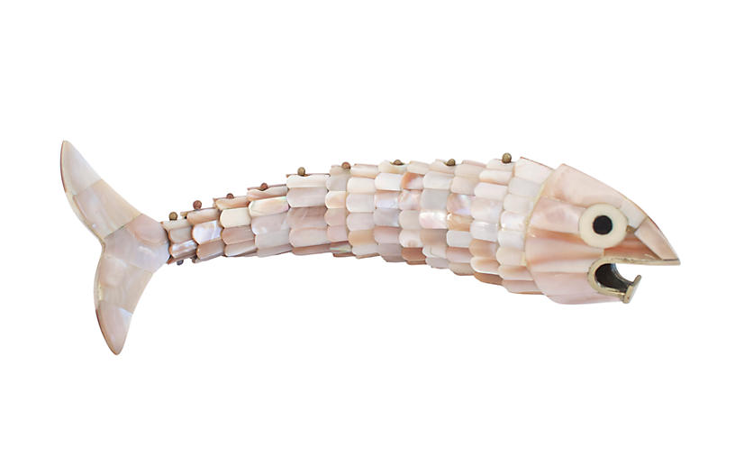 MCM Mother-of-Pearl Fish Bottle Opener