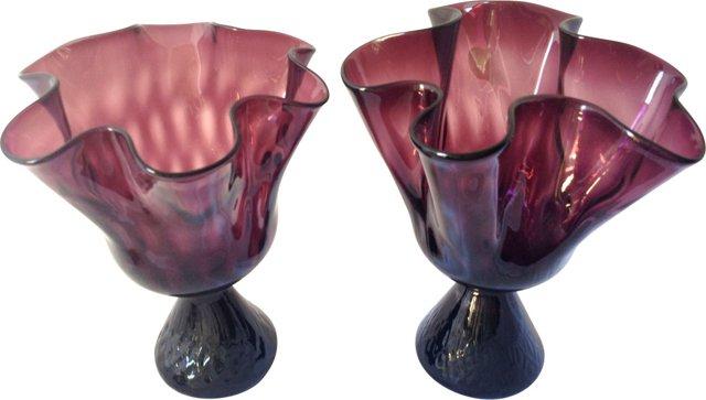 Handblown Amethyst Glass Vessels, Pair
