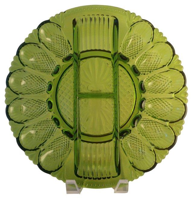 Green Glass Deviled Egg Plate