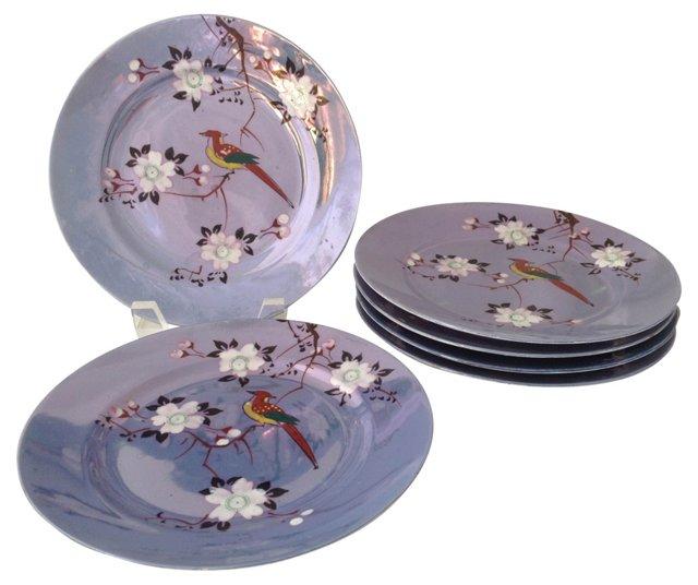 Porcelain Bird Motif Plates, S/6