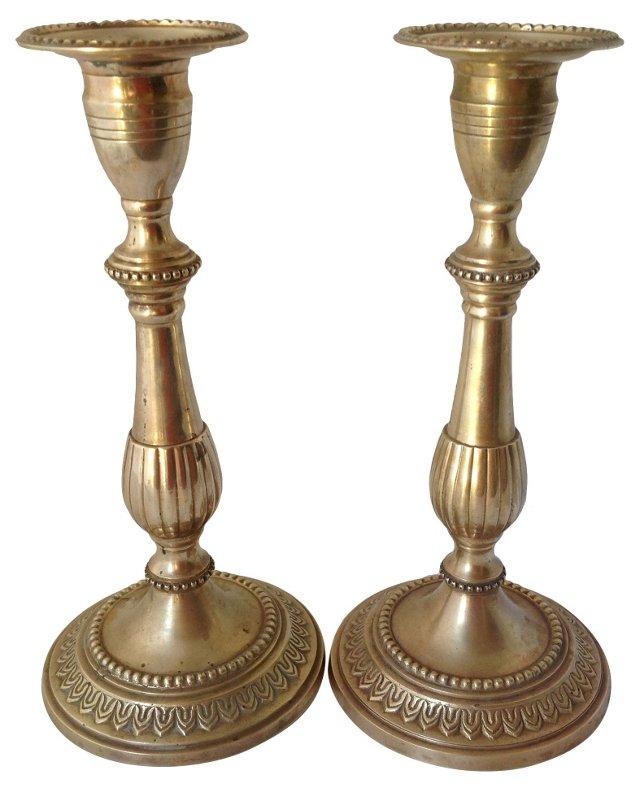 Brass Column Candlesticks, Pair